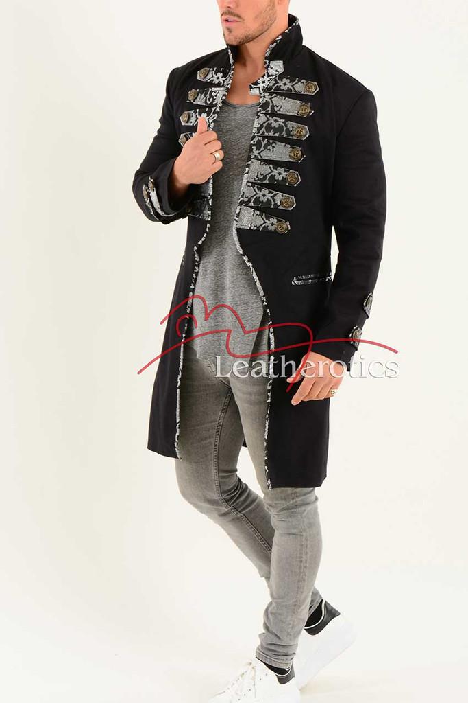 Men's Tailcoat Jacket Black Cotton MTC5 Side