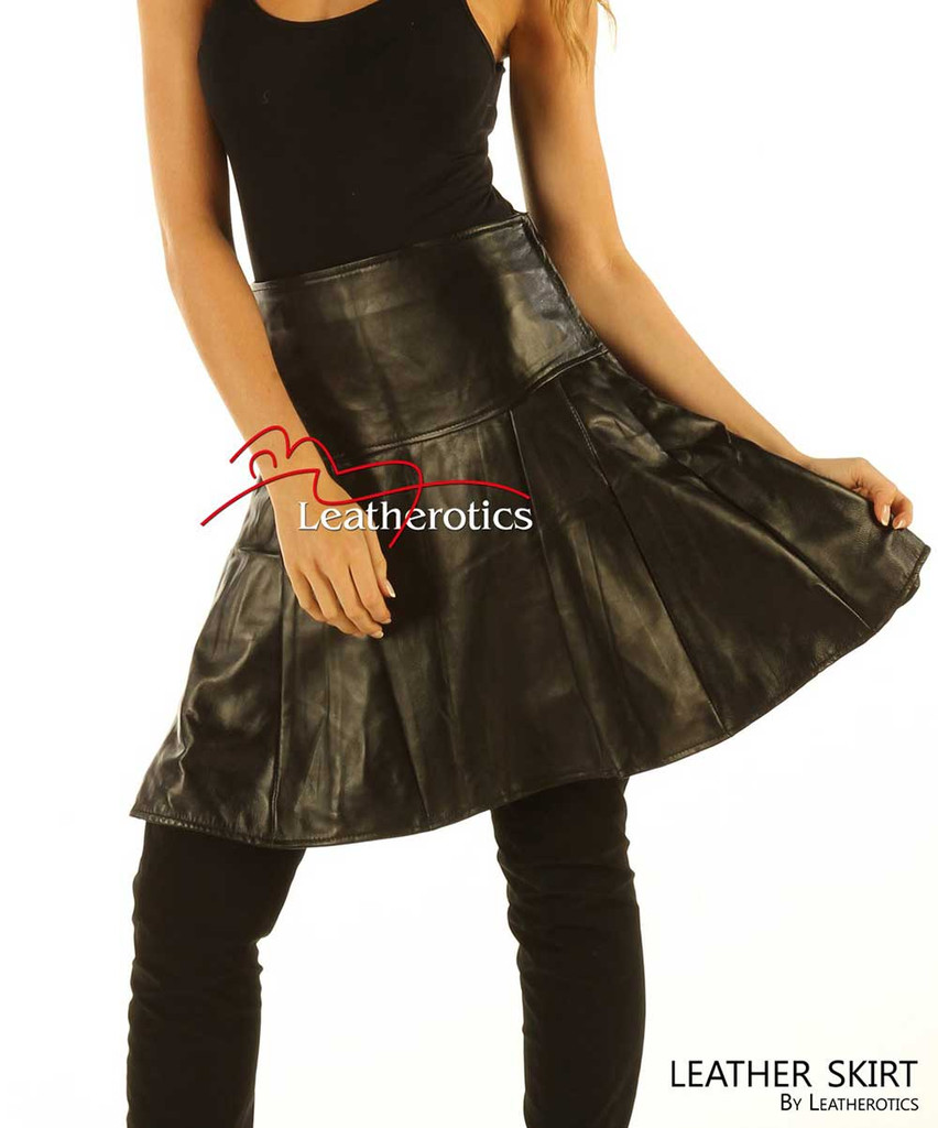 Black Leather Skirt A Line High Waisted Best Womens Fashion NP6