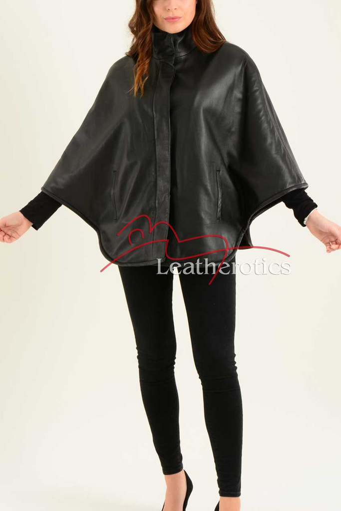 Ladies Fine Leather Cape With Fur Lining 1