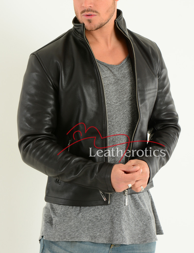 Men's Leather Jacket Cowhide Smart fitted Moto 2