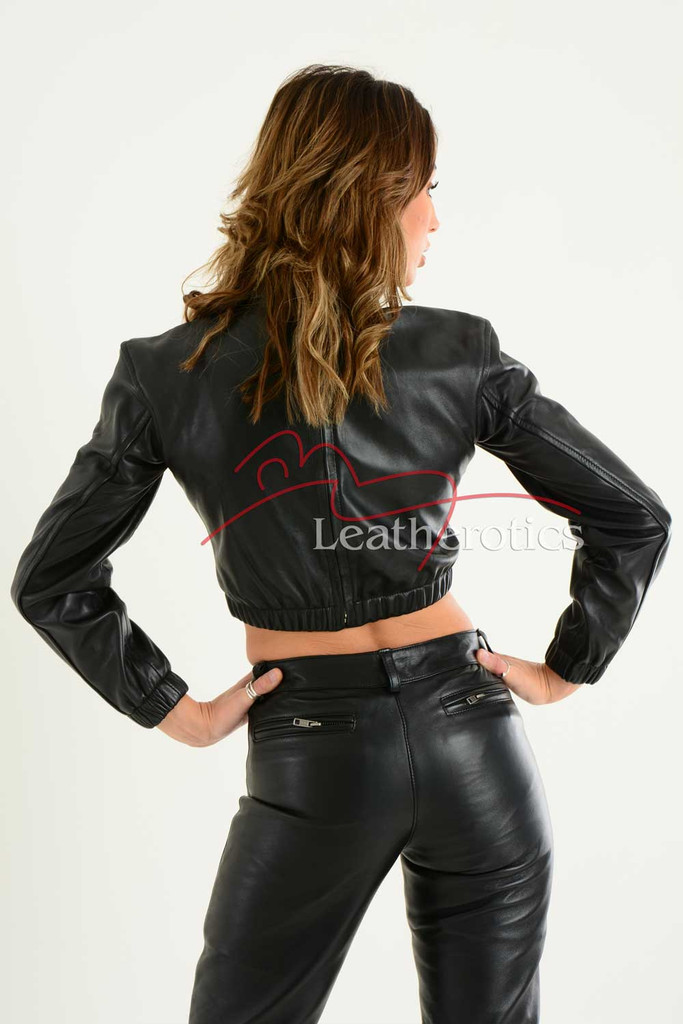 Ladies Luxurious Fine Leather Crop Top 3