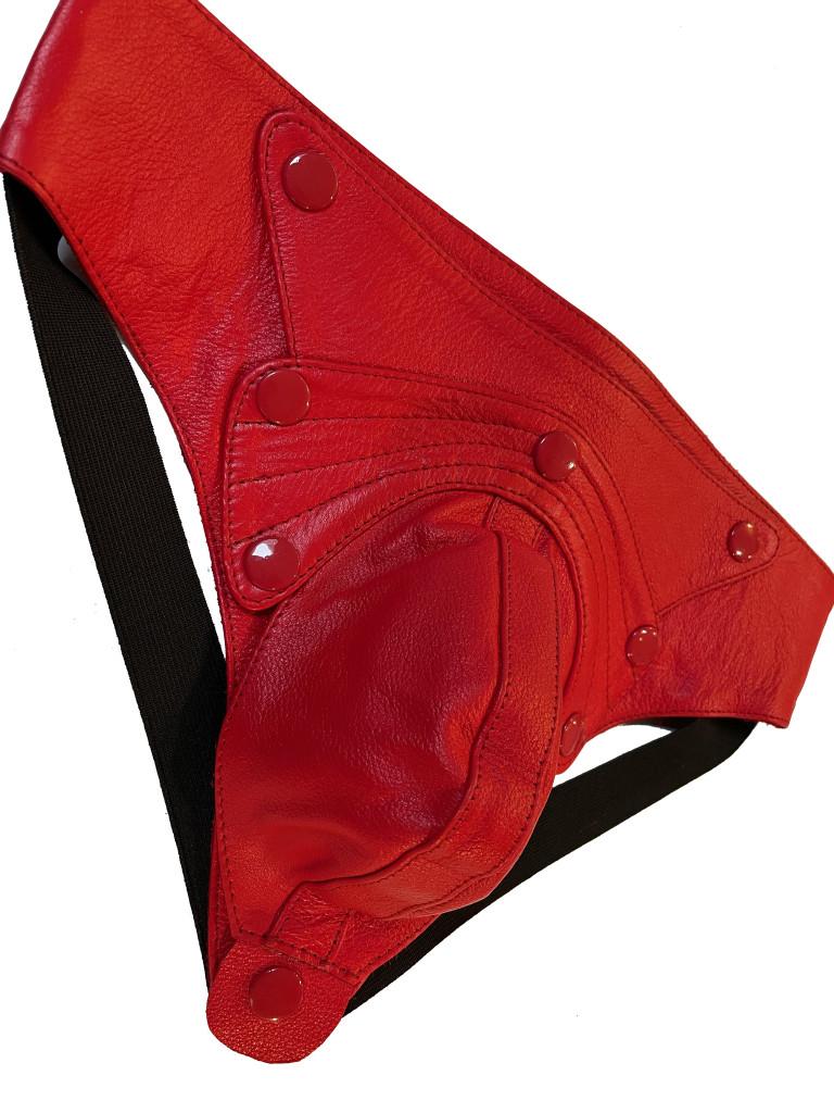Mens Leather Jock Pouch Underwear Red