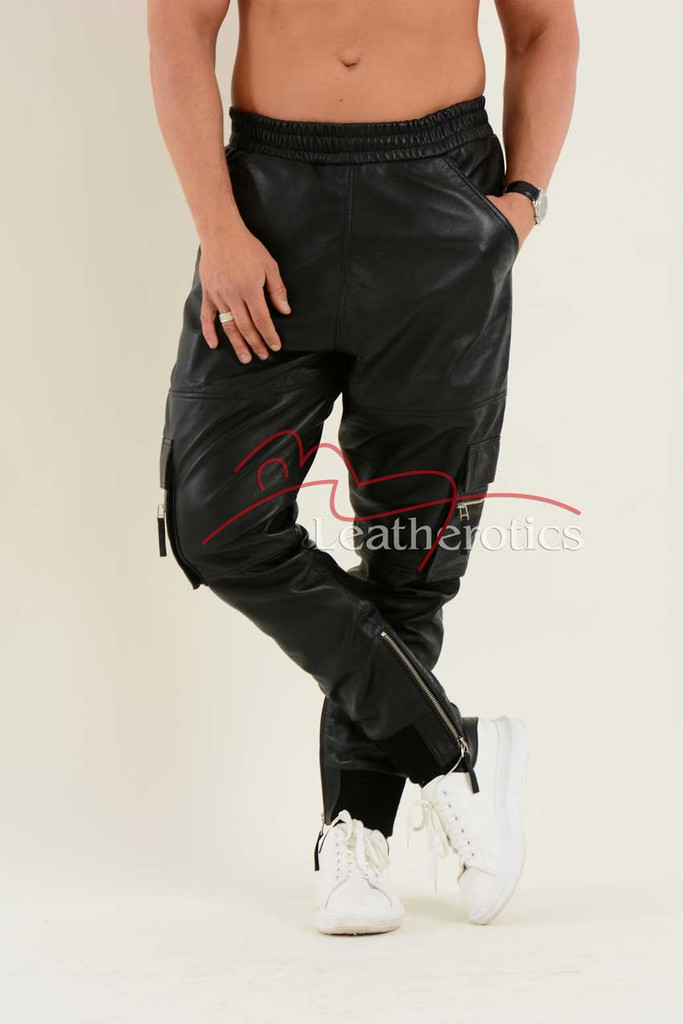 Leather Cargo Pants joggers 1