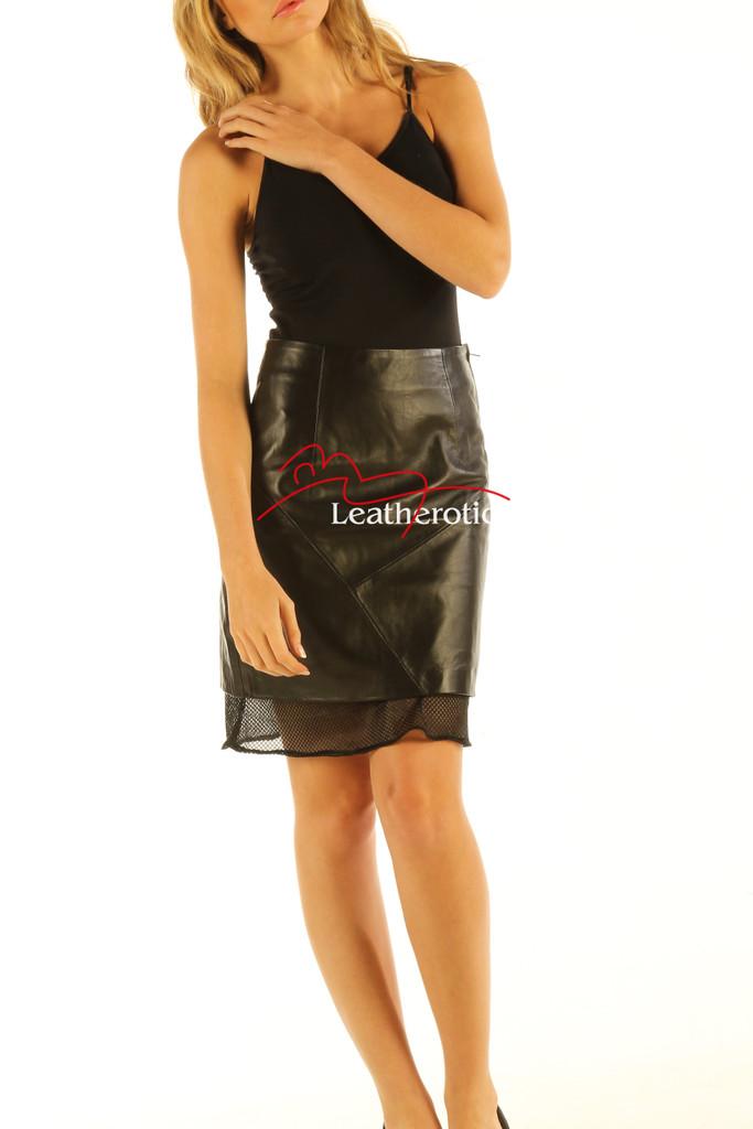 Black Leather Skirt High Waist Nappa Skins NP5