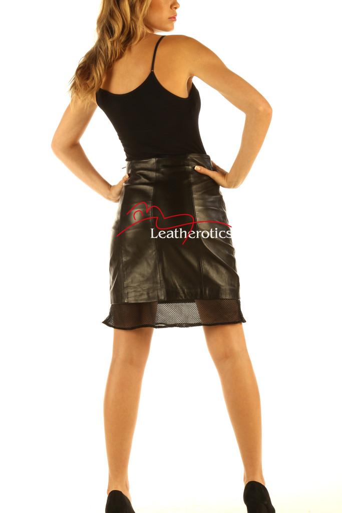 Black Leather Skirt High Waist Nappa Skins NP5 back