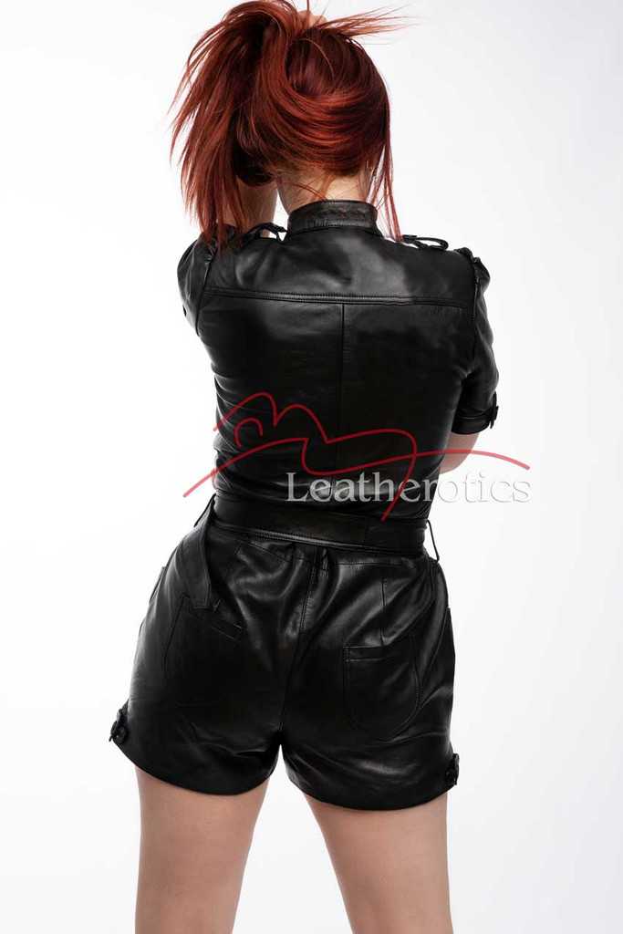 Lavish Soft Black Leather Playsuit Jumpsuit Capri Dress