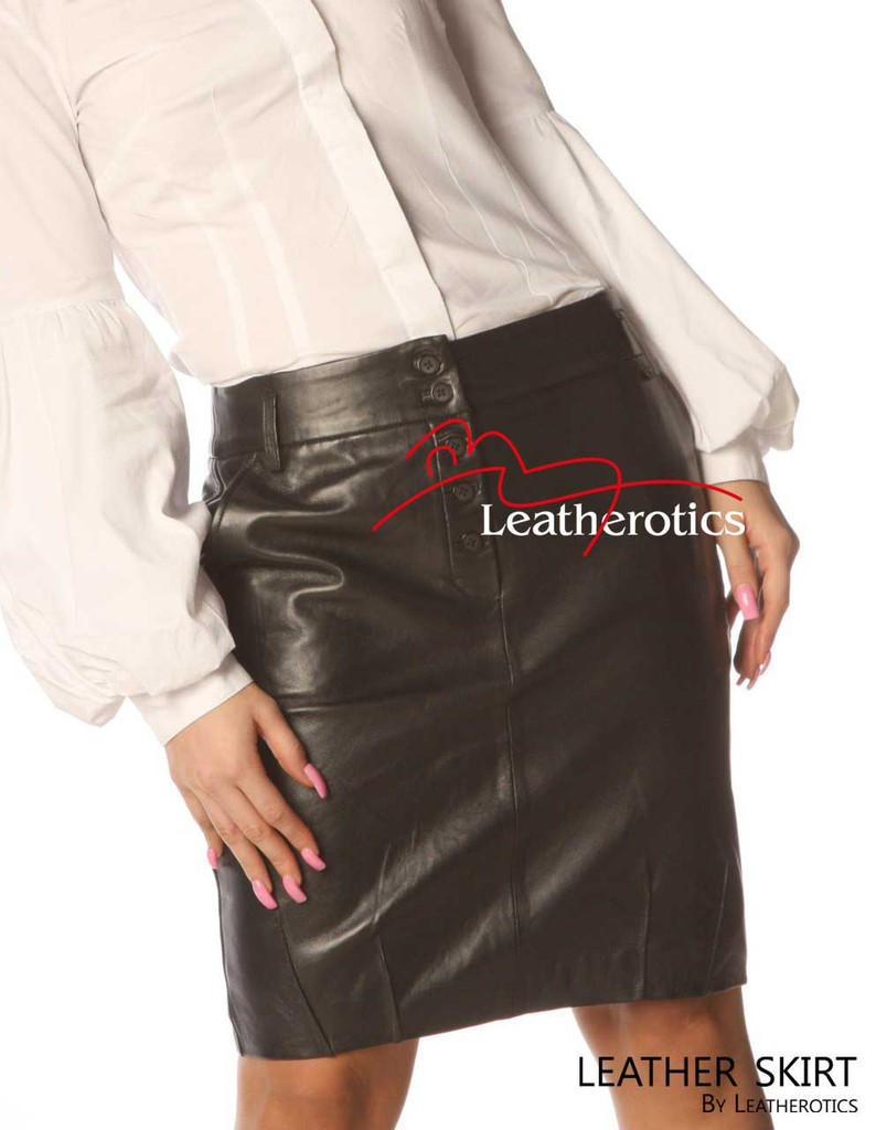 Black Leather Office Skirt Tight Fit Goat Nappa SK99