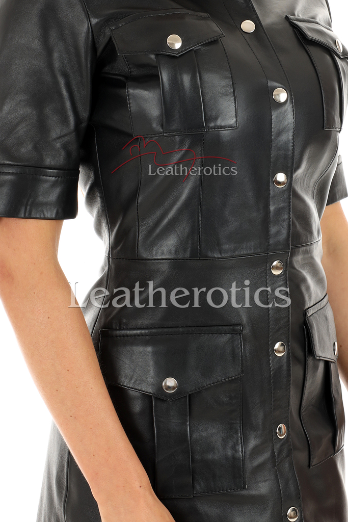 Leather Mini Dress With Pockets - details