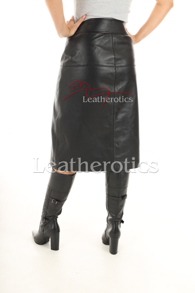 A Line Real Leather Skirt 3