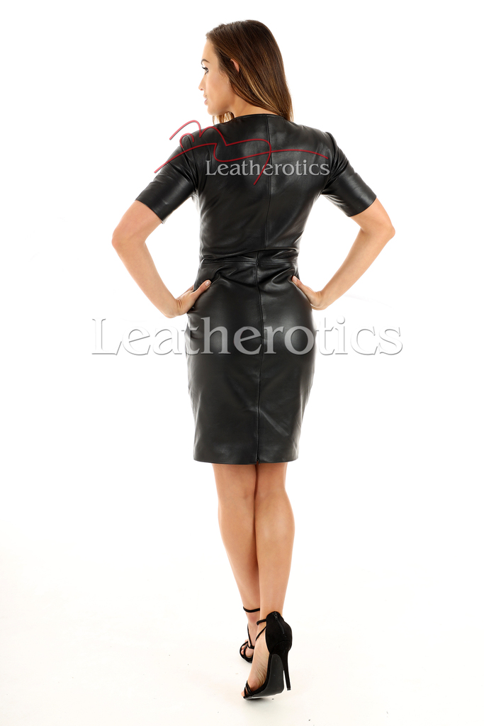 Lavish Soft Black Leather midi Dress With Sleeves - back 2