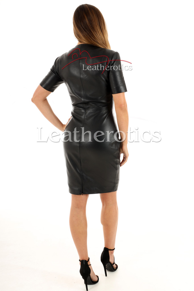 Lavish Soft Black Leather midi Dress With Sleeves - back