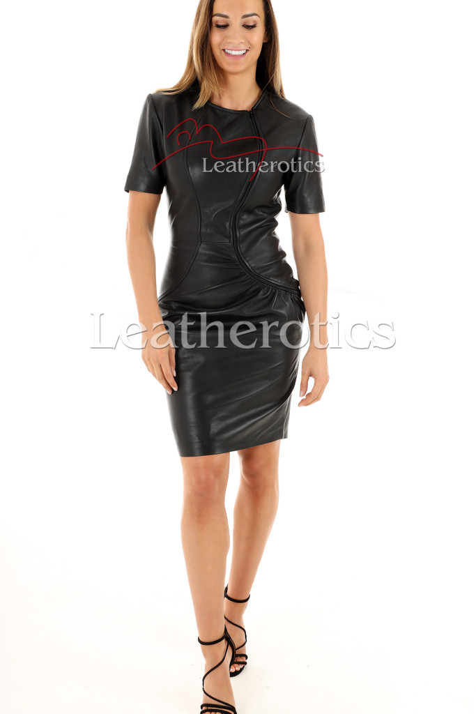 Lavish Soft Black Leather midi Dress With Sleeves - front 2