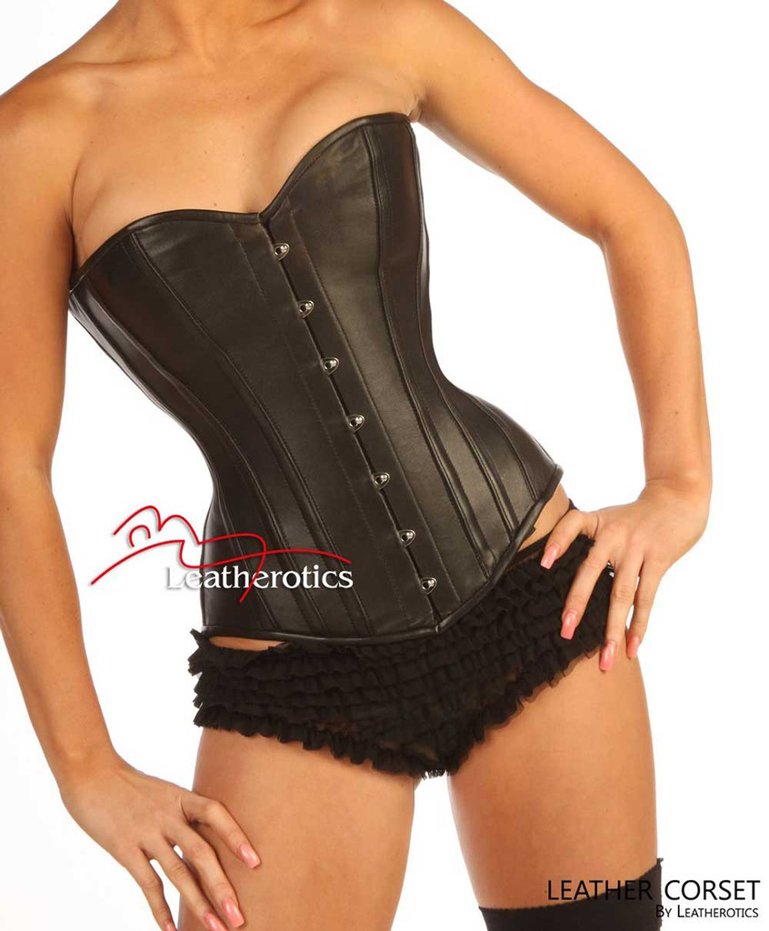 Black Leather With Leather Lining Full Steel Boned Corset 1919 LL