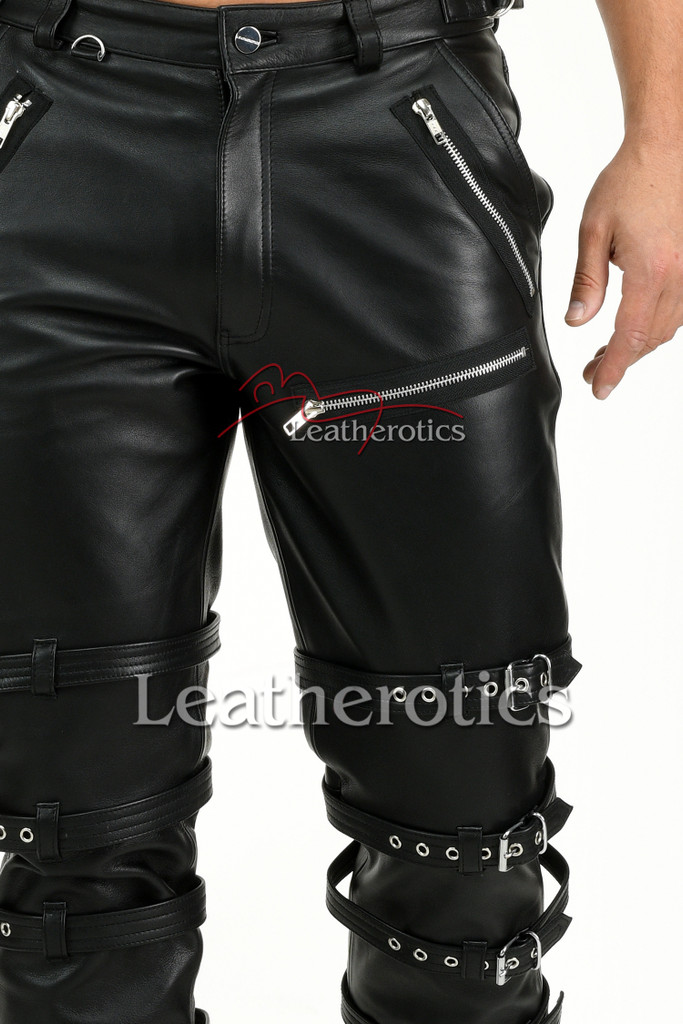 Men's Soft Leather Cowhide Belted Trousers - Details