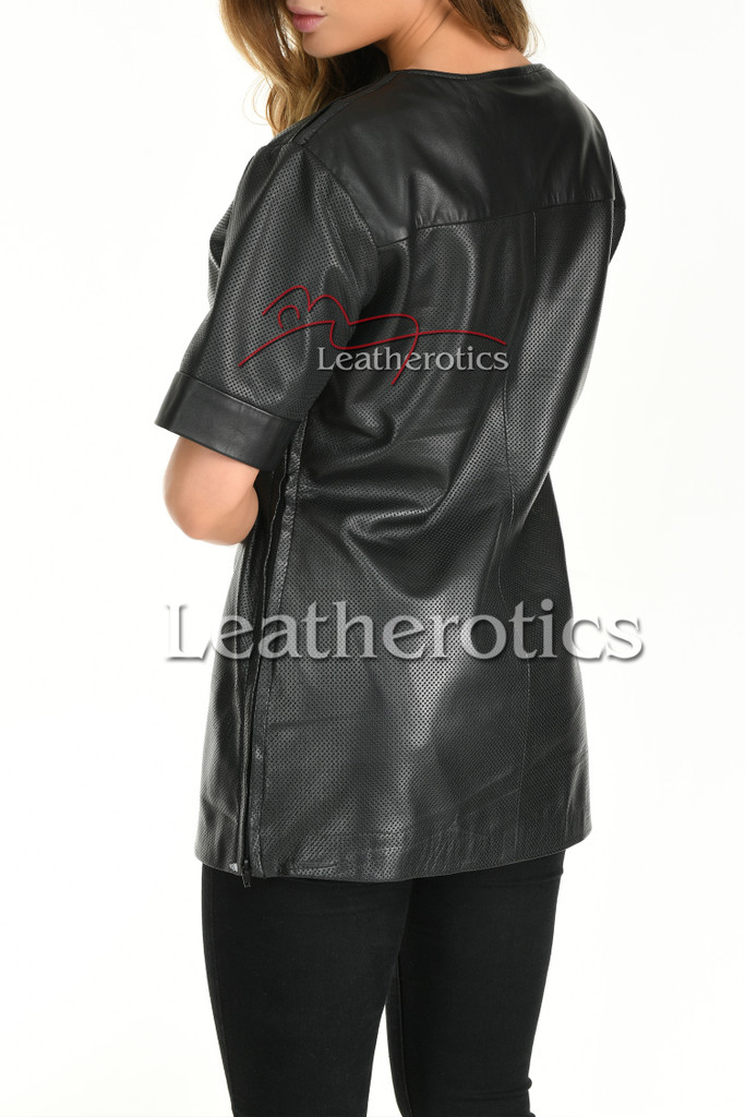Ladies Crew neck Real Leather TShirt Perforated 4 - back