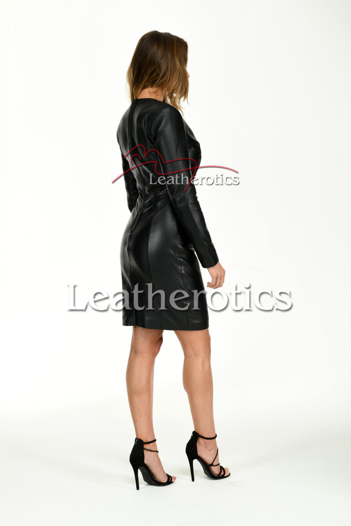 Knee length Leather Dress With Sleeves - side