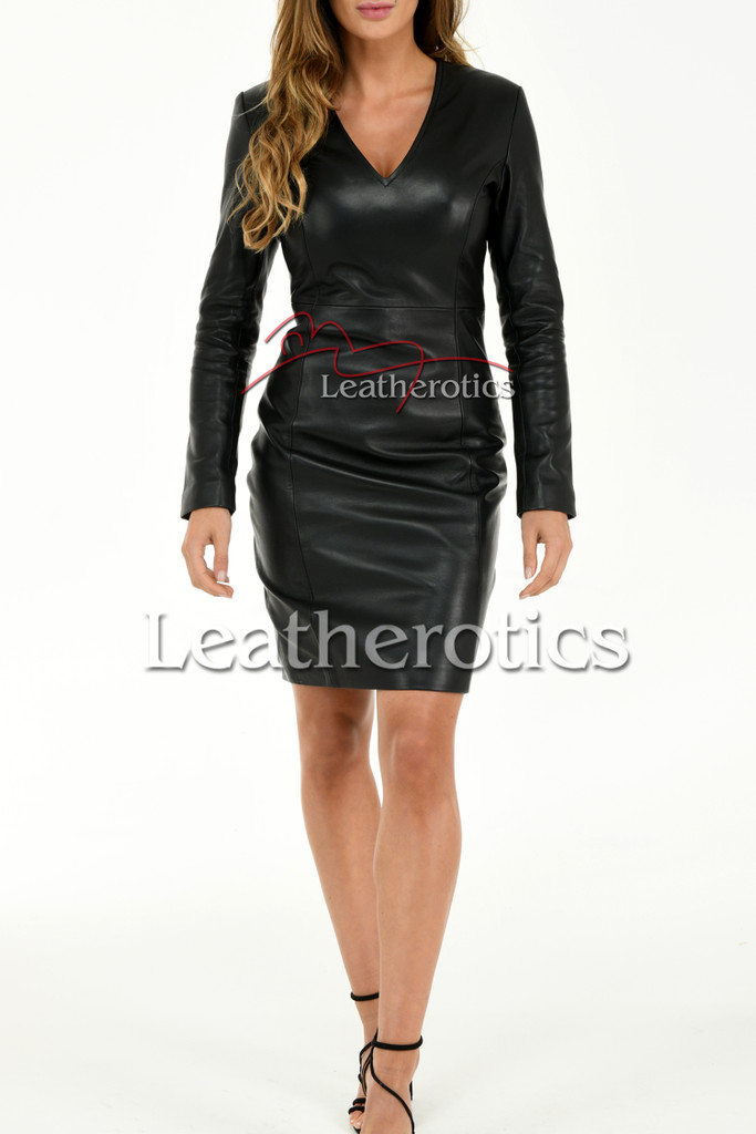 Knee length Leather Dress With Sleeves - front 2