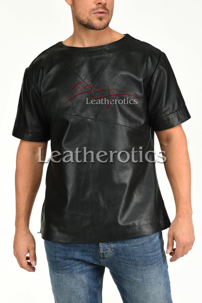 Men's Leather T-Shirt Perforated Relaxed Fit