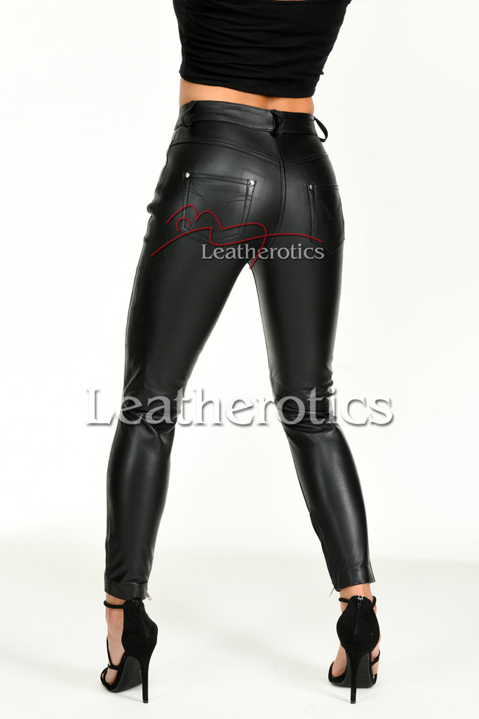 Tight leather trousers with ankle zip - back 2
