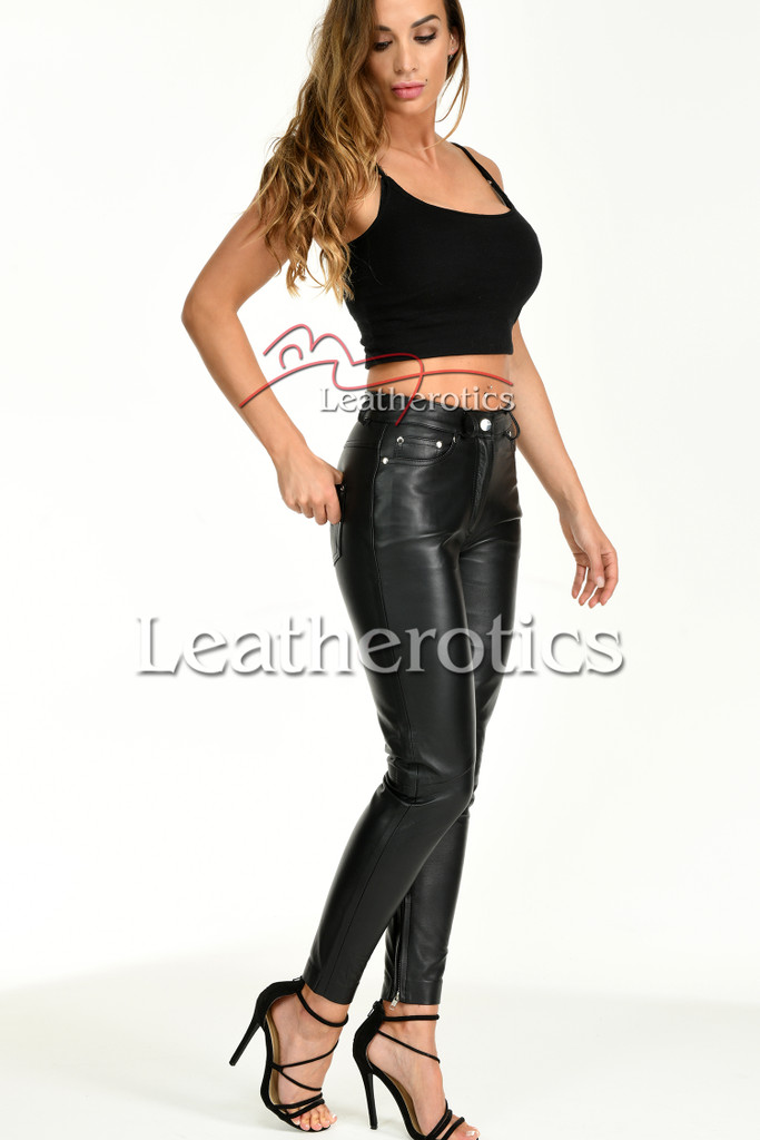 Tight leather trousers with ankle zip - front