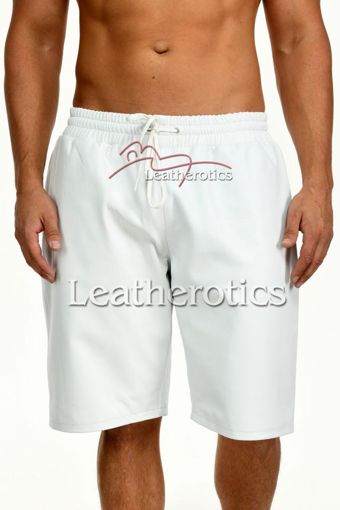 Men's White Leather Boxer Shorts - front details 2