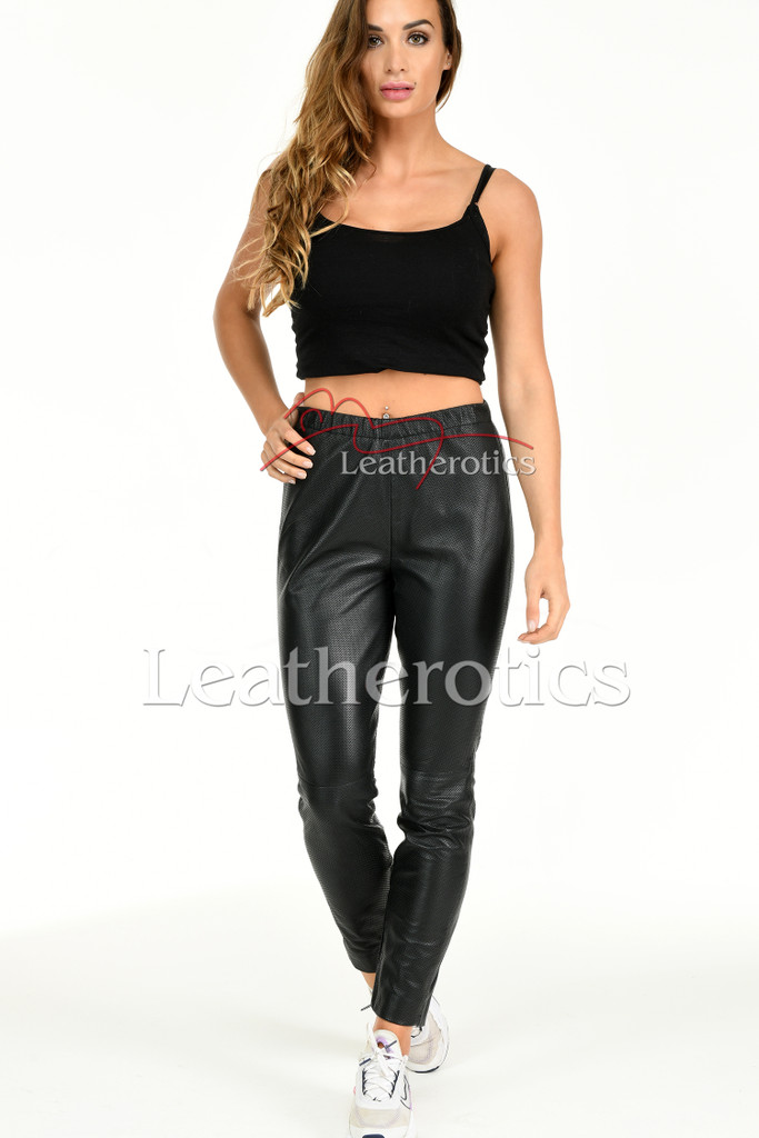 Perforated Leather Leggings - front 3