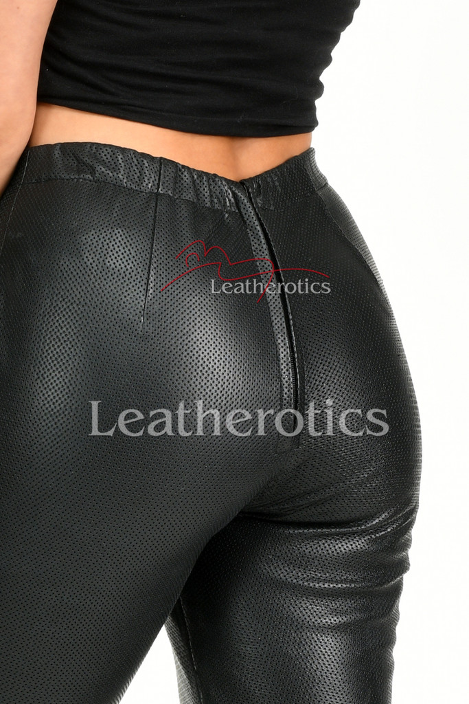 Perforated Leather Leggings - details