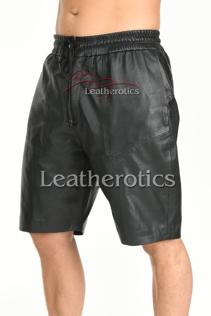 Perforated Leather Shorts - front