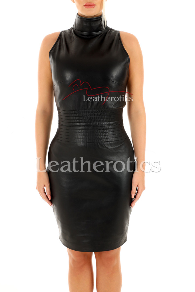 Sleeveless Leather dress - front 4