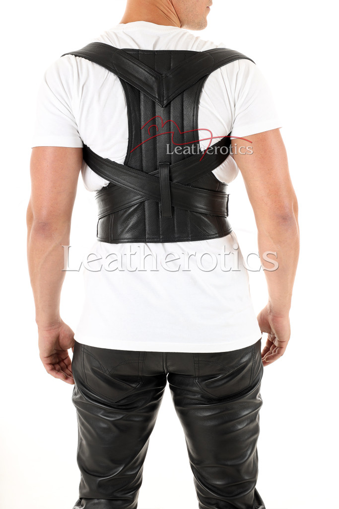 Men's Leather Posture Support Adjustable Belt - back