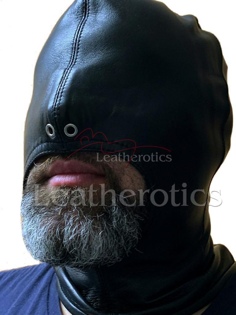 Black leather gimp mask - front