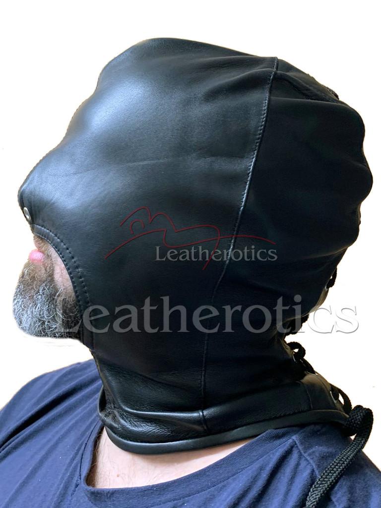 Black leather gimp mask
