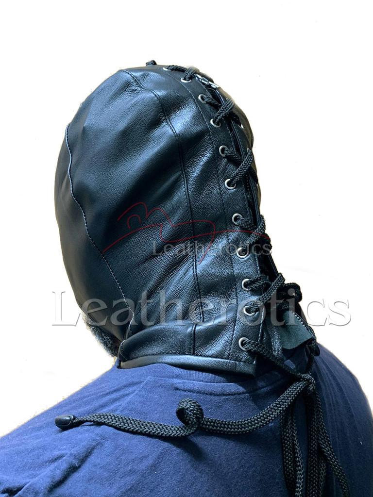 Black leather gimp mask - back