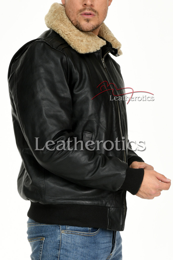 Leather Jacket With Fur Collar 1