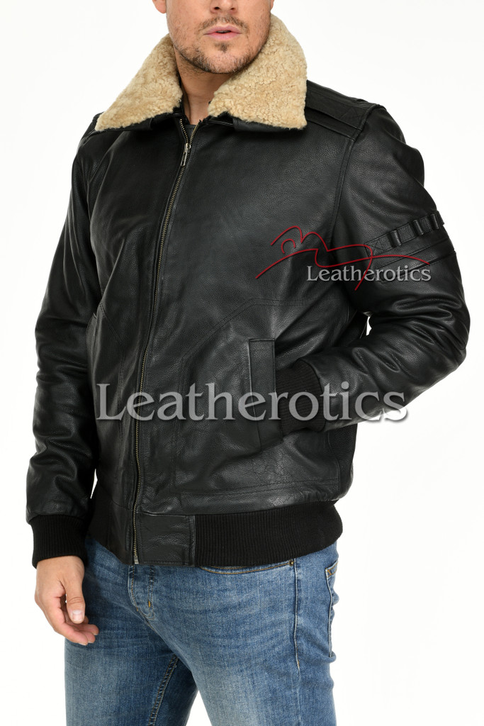 Leather Jacket With Fur Collar 9