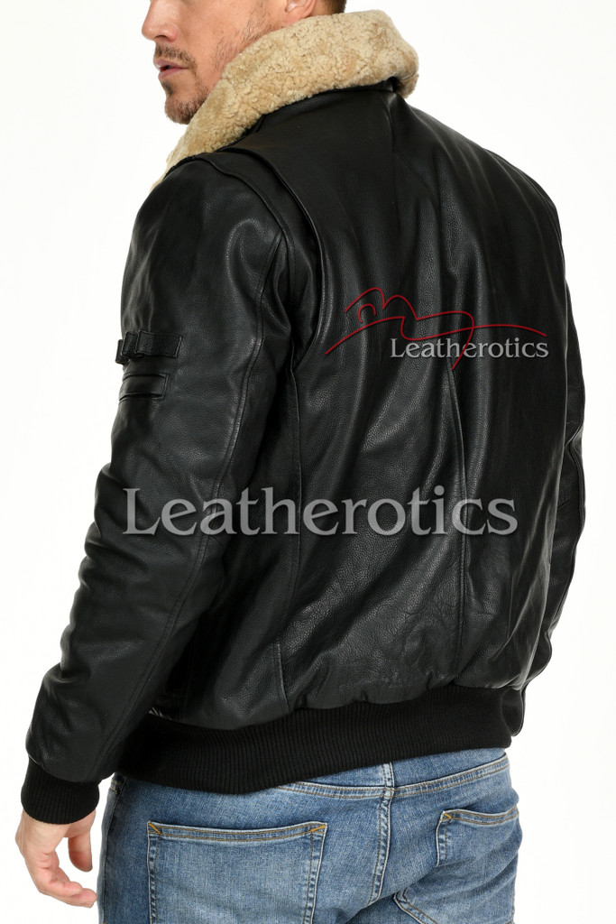 Leather Jacket With Fur Collar 3