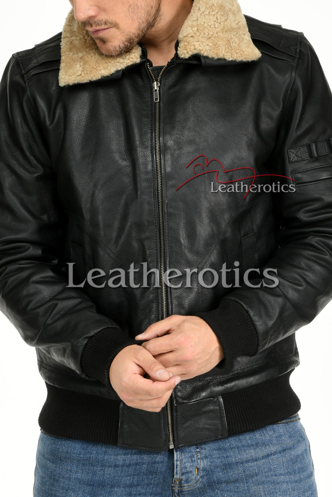 Leather Jacket With Fur Collar 5