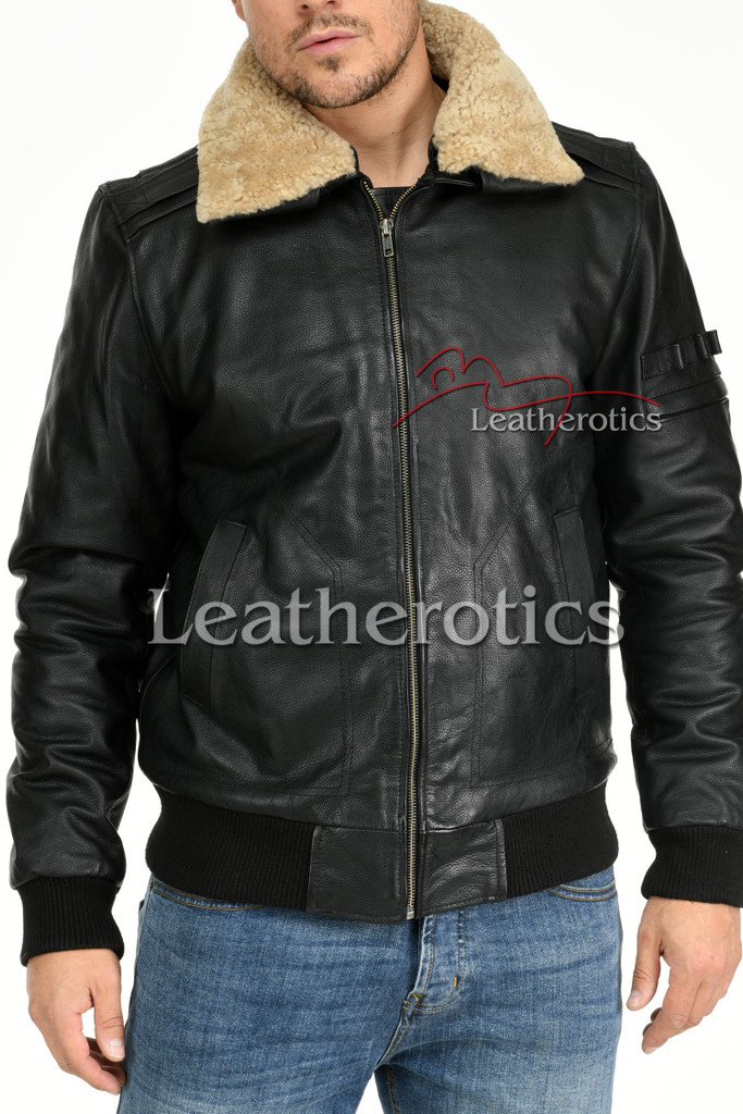 Leather Jacket With Fur Collar 8