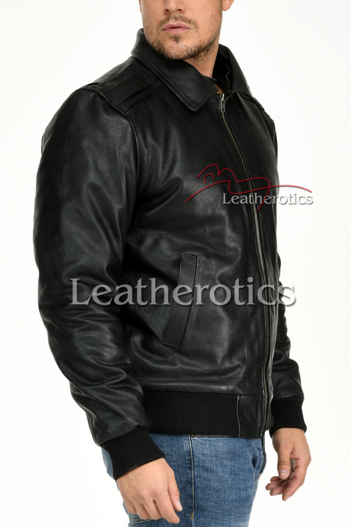 Leather Jacket With Classic Collar 2
