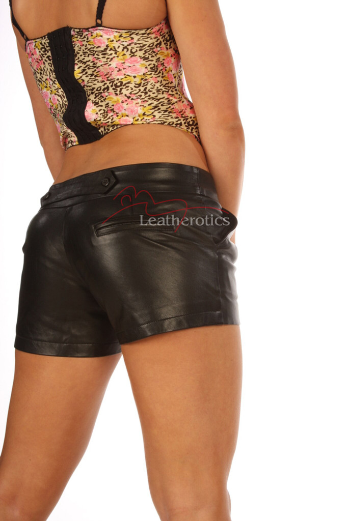 Full Grain Sexy Leather Shorts Tight Fit Fetish Open Crotch image 2