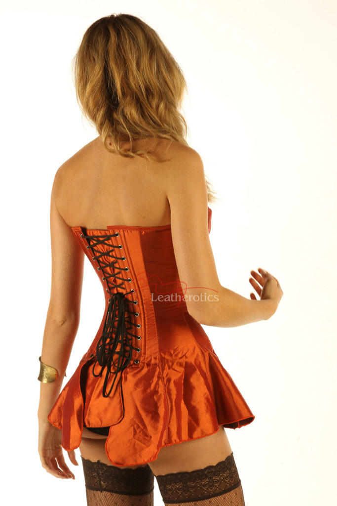 Corseted Skirt Skirted Corset Full Steel Boned Tight Lacing back view details