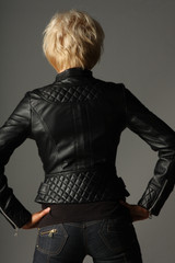 Full Grain Leather Ladies Jacket Fully Lined Funky Top back