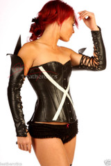 Real leather gothic fetish gloves
