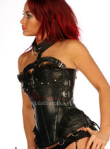 Halter Leather Corset Steel Boned Semi Overbust image 3