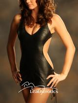 Leather Mini Dress nude teddy Top