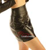 Luxury Leather Skirt Sexy Tight Fit zip front side view