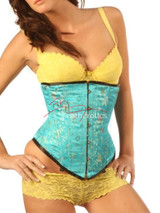Light Blue Floral Silk Underbust Corset Front