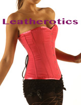 Shocking Pink Cotton Corset Overbust Steel Boned