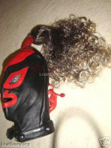 leather mask with wig in black and red colour