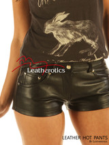 Real Leather Made Jeans Style Tight Shorts Hotpants Hipster Fit